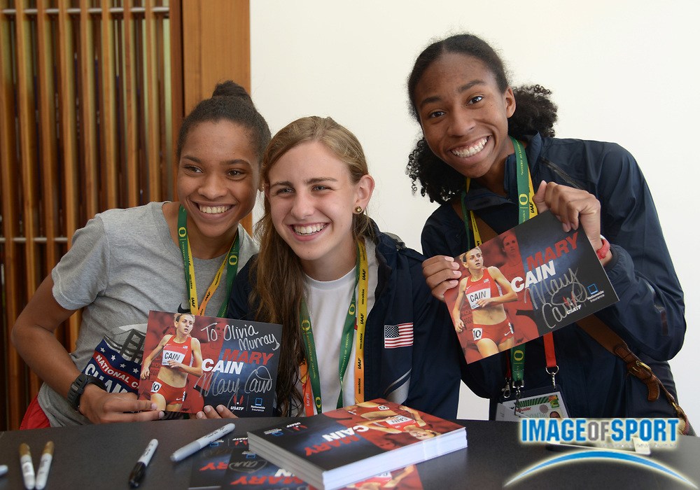Jul 25, 2014; Eugene, OR, USA; United States team members Sabrina Southerland (left), Mary Cain (center) and Olivia Baker pose at the USATF house at the 2014 IAAF World Junior Championships.