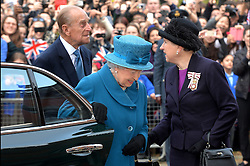 The Queen and Duke Of Edinburgh arrive at Royal Holloway University, Egham, UK, for a royal visit.<br /> Friday, 14th March 2014. Picture by Ben Stevens / i-Images