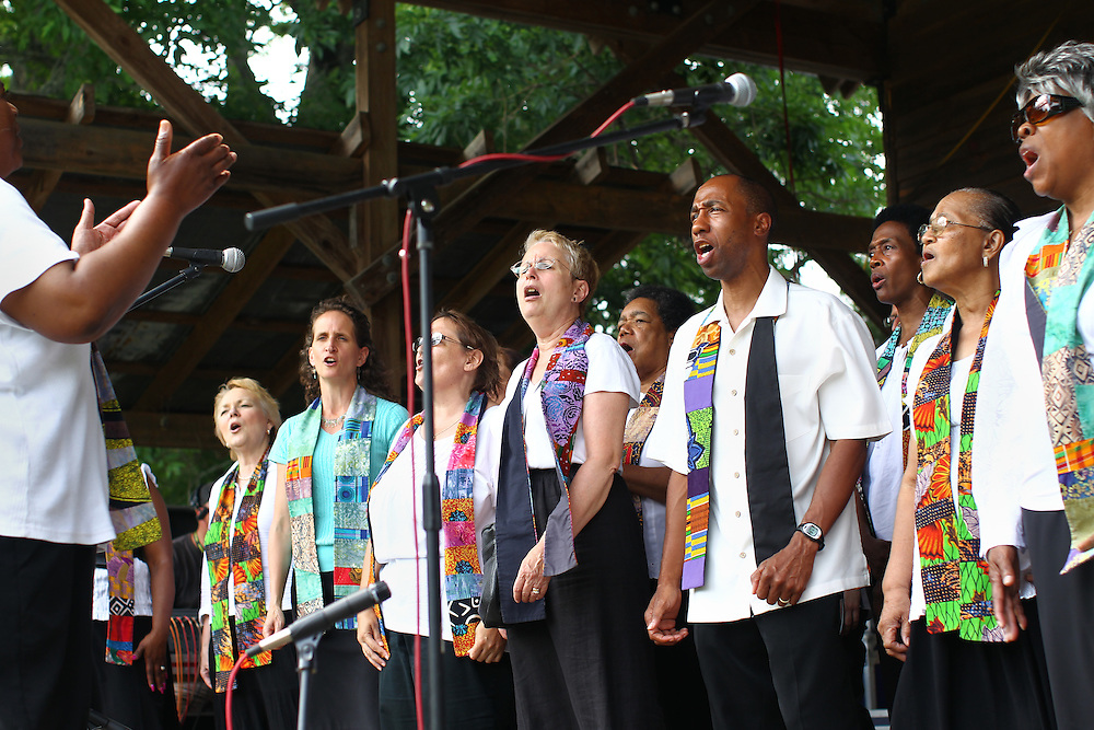United Voices of Praise performs before the opening ceremony at the Wild Goose Festival at Shakori Hills in North Carolina June 23, 2011.  (Photo by Courtney Perry)