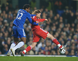 LONDON, ENGLAND - Wednesday, December 19, 2007: Liverpool's Lucas Levia and Chelsea's Mikel John Obi during the League Cup Quarter Final match at Stamford Bridge. (Photo by David Rawcliffe/Propaganda)