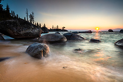 """""""Sunset at Whale Beach, Tahoe 6"""" - Sunset photograph shot at Whale Beach, Lake Tahoe."""