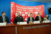 (L-R) Artur Partyka and Tomasz Majewski and Krzysztof Klimczak and Sebastian Chmara and Patrycja Horsztynska during press conference before athletics meeting Pedro's Cup 2014 at Press Centre of Polish Press Agency in Warsaw, Poland.<br /> <br /> Poland, Warsaw, January 14, 2014.<br /> <br /> Picture also available in RAW (NEF) or TIFF format on special request.<br /> <br /> For editorial use only. Any commercial or promotional use requires permission.<br /> <br /> Mandatory credit:<br /> Photo by &copy; Adam Nurkiewicz / Mediasport