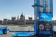 High DivingTower and pool<br /> Day 17 30/07/2017<br /> XVII FINA World Championships Aquatics<br /> Batthy&aacute;ny Square  Buda embankment of the Danube<br /> Budapest Hungary <br /> Photo Andrea Staccioli/Deepbluemedia/Insidefoto