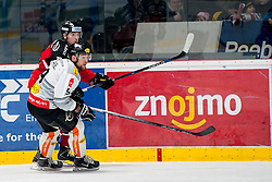 01.03.2016, Ice Rink, Znojmo, CZE, EBEL, HC Orli Znojmo vs Dornbirner Eishockey Club, Viertelfinale, 3. Spiel, im Bild v.l. Corey Trivino (HC Orli Znojmo), James Arniel (Dornbirner) // during the Erste Bank Icehockey League 3rd quarterfinal match between HC Orli Znojmo and Dornbirner Eishockey Club at the Ice Rink in Znojmo, Czech Republic on 2016/03/01. EXPA Pictures © 2016, PhotoCredit: EXPA/ Rostislav Pfeffer