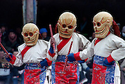 Tibetan dancers in skull masks perform the Cham Dance during the Yak Butter Festival at the Kumbum Monastery also known as Ta'er Monastery in Xining, China.