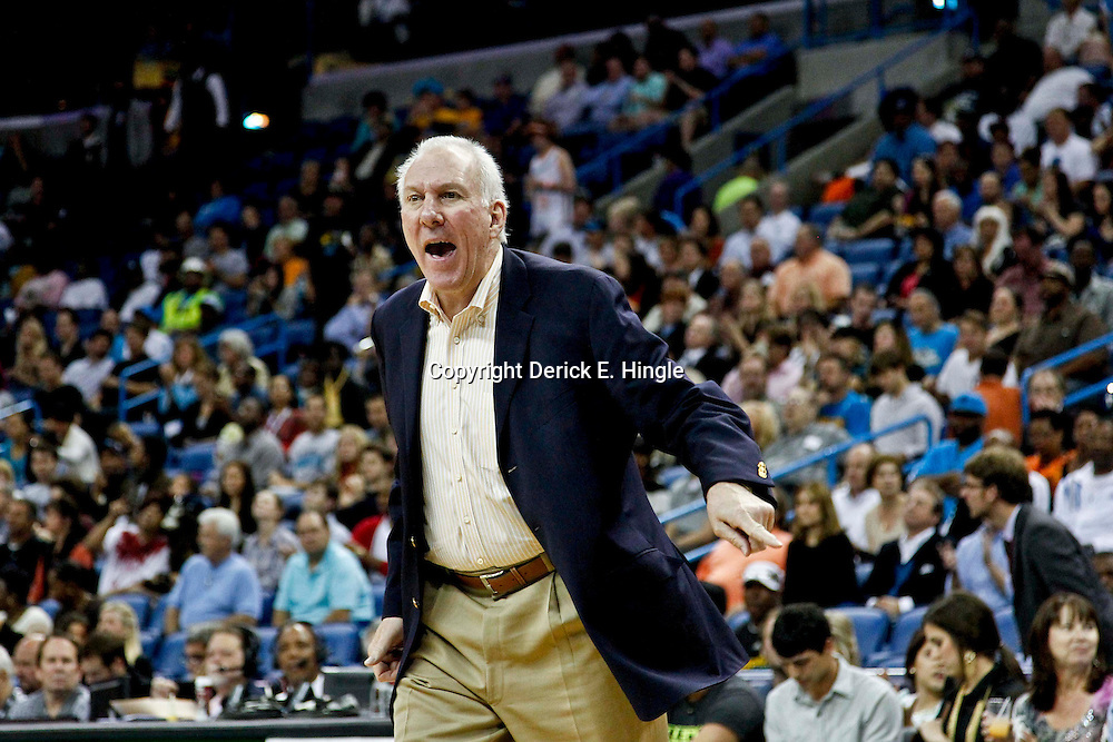 October 31, 2012; New Orleans, LA, USA; San Antonio Spurs head coach Gregg Popovich against the New Orleans Hornets during the first half of a game at the New Orleans Arena. Mandatory Credit: Derick E. Hingle-US PRESSWIRE