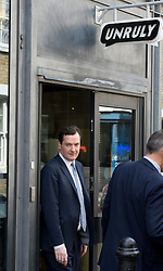 © London News Pictures. 25/04/2013. London, UK. Chancellor of the Exchequer GEORGE OSBORNE  leaving Unruly Media in East London after delivering a speech on the economy on April 25, 2013 . Photo credit: Ben Cawthra/LNP.