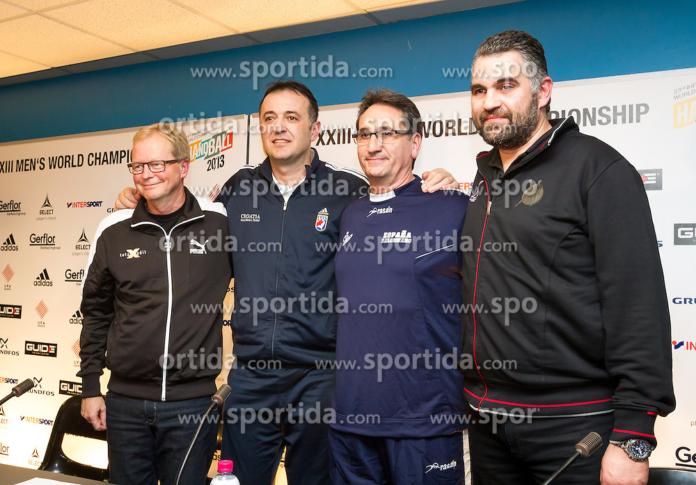 24.01.2013, Palau Sant Jordi, Barcelona, ESP, IHF, Handball Weltmeisterschaft der Herren, Halbfinale, Pressekonferenz, im Bild Ulrik Wilbek (Trainer DEN), Slavko Goluza (Trainer CRO), Valero Rivera (Trainer ESP),  Boris Denic (Trainer SLO)// Ulrik Wilbek, coach of Denmark, Slavko Goluza, coach of Croatia, Valero Rivera, coach of Spain, Boris Denic, coach of Slovenia during a press conference in front of the semifinal matches of the IHF Handball World Championship at the Palau Sant Jordi, Barcelona, Spain on 2013/01/24. EXPA Pictures © 2013, PhotoCredit: EXPA/ Sebastian Pucher