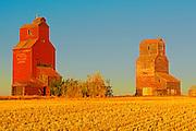 Grain elevators in ghost town<br /> Lepine<br /> Saskatchewan<br /> Canada