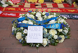 LIVERPOOL, ENGLAND - Sunday, April 14, 2019: A wreath of flowers left by the directors, players and staff of Chelsea FC at the memorial to the 96 victims of the Hillsborough Stadium Disaster, the 15th of April marks the 30th anniversary of the disaster, pictured before the FA Premier League match between Liverpool FC and Chelsea FC at Anfield. (Pic by David Rawcliffe/Propaganda)
