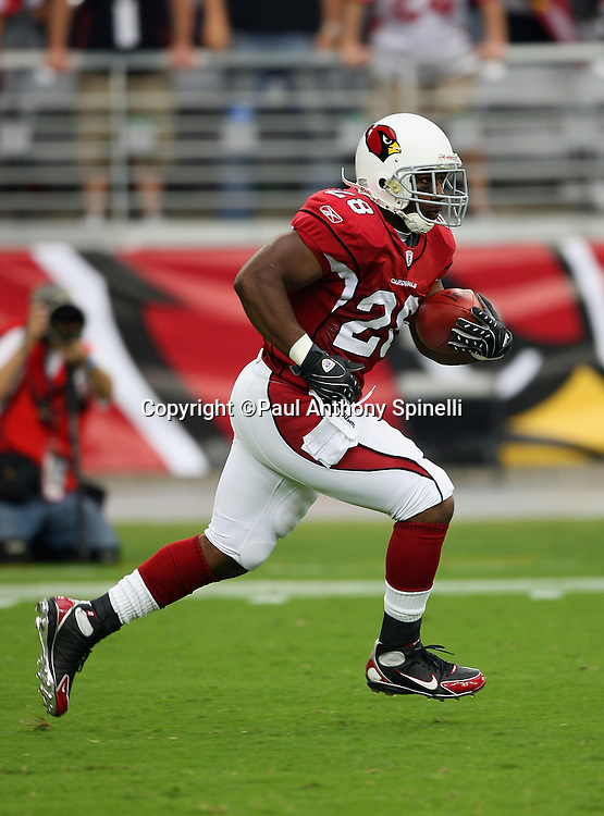GLENDALE, AZ - OCTOBER 12: J.J. Arrington #28 of the Arizona Cardinals returns the opening kickoff 93 yards for a touchdown and a 7-0 lead over the Dallas Cowboys at University of Phoenix Stadium on October 12, 2008 in Glendale, Arizona. The Cardinals defeated the Cowboys 30-24. ©Paul Anthony Spinelli *** Local Caption *** J.J. Arrington