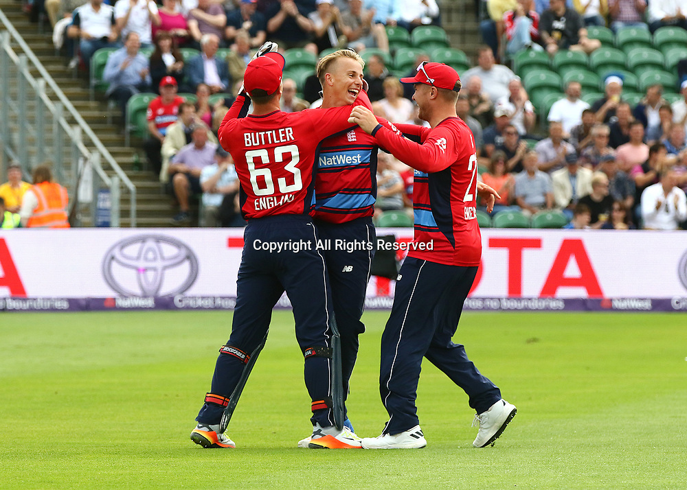 23rd June 2017, The Cooper Associates County Ground, Taunton, England; 2nd International Twenty20 Cricket Match, Tom Curran of England celebrates taking the wicket of Reeza Hendricks of South Africa with Jos Buttler (wk) of England and Jason Roy of England