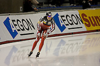 Calgary - December 5, 2009 - Essent ISU World Cup Speedskating at the Olympic Oval in Calgary.  Kristina Groves of Canada celebrates after her race in the A Division of the women's 1500m event.  Groves finished 1st in 1:54.35 and was part of a strong Canadian contingent that took 3 of the top 4 places in the event...©2009, Sean Phillips.http://www.Sean-Phillips.com