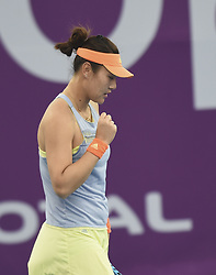 DOHA, Feb. 12, 2018  Duan Yingying of China celebrates scoring during the single's first round match against Ons Jabeur of Tunisia at the 2018 WTA Qatar Open in Doha, Qatar, on Feb. 12, 2018. Duan Yingying won 2-0. (Credit Image: © Nikku/Xinhua via ZUMA Wire)
