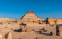 Ruins and excavations at the Sakkara site, Egypt.