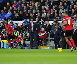 Cardiff City Manager, Malky Mackay screams instructions from the touchline  - Photo mandatory by-line: Joe Meredith/JMP - Tel: Mobile: 07966 386802 03/11/2013 - SPORT - FOOTBALL - The Cardiff City Stadium - Cardiff - Cardiff City v Swansea City - Barclays Premier League