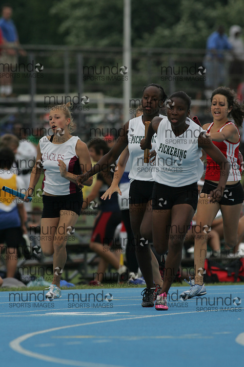 \o competing in the midget girls 4x100m relay final at the 2007 OFSAA Ontario High School Track and Field Championships in Ottawa.
