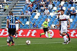 """Foto LaPresse/Filippo Rubin<br /> 11/05/2019 Reggio Emilia (Italia)<br /> Sport Calcio<br /> Atalanta - Genoa - Campionato di calcio Serie A 2018/2019 - Stadio """"Mapei Stadium""""<br /> Nella foto: GOAL TIMOTHY CASTAGNE (ATALANTA)<br /> <br /> Photo LaPresse/Filippo Rubin<br /> May 11, 2019 Reggio Emilia (Italy)<br /> Sport Soccer<br /> Atalanta vs Genoa - Italian Football Championship League A 2018/2019 - """"Mapei stadium"""" Stadium <br /> In the pic: GOAL ATALANTA TIMOTHY CASTAGNE (ATALANTA)"""