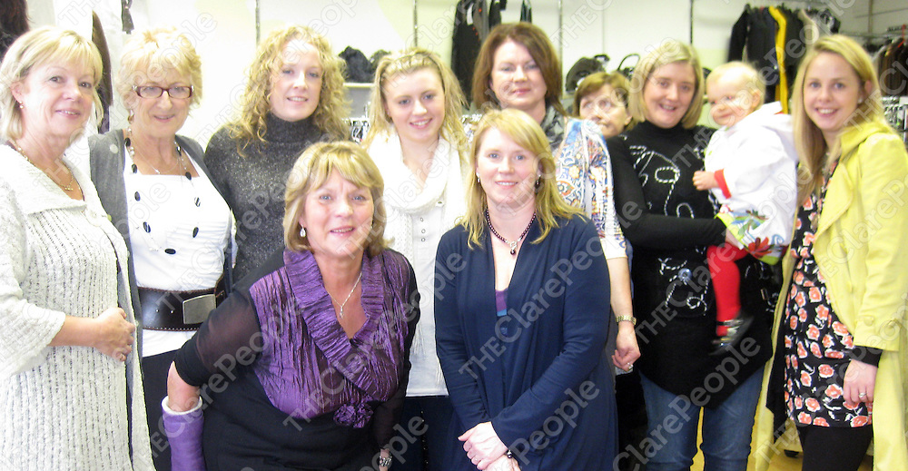 Marie Dilleen, Mary O'Reilly, Annette Daffy, Jennifer Maher, Gerladine Daly, Bernadette Blessing, Grace and Alma Carey ( left to right) Sorcha Barry, Sheila Maher and Sarah Dilleen marking the 20th anniversary of Annette's Boutique in Clarecastle.