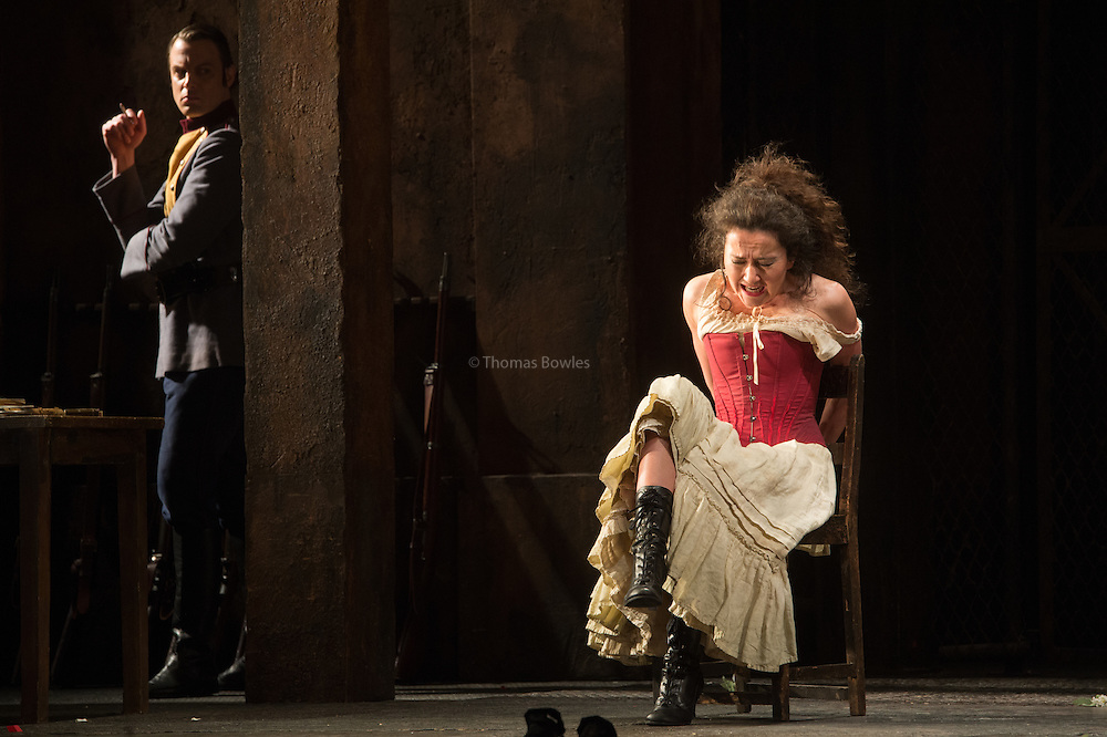 Stephanie d'Oustrac as Carmen and Pavel Cernoch as Don Jose in Carmen, Glyndebourne Festival 2015. - These images are under embargo until Curtain up 4.50pm Saturday 23rd May 2015