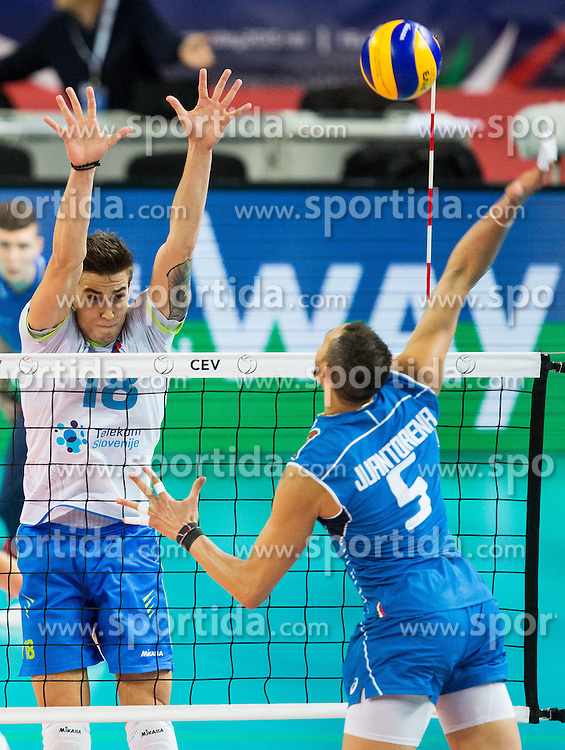 Klemen Cebulj #18 of Slovenia vs Osmany Juantorena of Italy during volleyball match between National teams of Slovenia and Italy in 1st Semifinal of 2015 CEV Volleyball European Championship - Men, on October 17, 2015 in Arena Armeec, Sofia, Bulgaria. Photo by Vid Ponikvar / Sportida