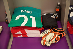 KIEV, UKRAINE - Easter Monday, March 28, 2016: The shirt and gloves of Wales' goalkeeper Daniel Ward in the dressing room before the International Friendly match against Ukraine at the NSK Olimpiyskyi Stadium. (Pic by David Rawcliffe/Propaganda)