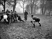 A P Baard collects from a practice line out at College Park, Dublin, when South African team brave the frosty conditions for an early morning practice,..Irish Rugby Football Union, Ireland v South Africa, Tour Match, South African team practice, College Park, Dublin, Ireland, Thursday 15th December, 1960,.15.12.1960, 12.15.1960,..South African Team, ..L G Wilson, Wearing number 15 South African jersey, Full Back, Western Province Rugby Football Club, Cape Town, South Africa, ..AN Other, Wearing number 13 South African jersey, Left Wing, ..A I Kirkpatrick, Wearing number 12 South African jersey, Left Centre, Orange Free State Rugby Football Club, Bloemfontein, South Africa, ..J L Gainsford, Wearing number 11 South African jersey, Right Centre, Western Province Rugby Football Club, Cape Town, South Africa, ..J P Engelbrecht, Wearing number 14 South African jersey, Right Wing, Western Province Rugby Football Club, Cape Town, South Africa,..K Oxlee, Wearing number 10 South African jersey, Stand Off, Natal Rugby Football Club, Durban, South Africa,..R J Lockyear, Wearing number 9 South African jersey, Scrum Half, Griqualand West Rugby Football Club, Kimberley, South Africa, ..S P Kuhn, Wearing number 1 South African jersey, Loose Head Prop, Transvaal Rugby Football Club,  Johannesburg, South Africa,..R A Hill, Wearing number 2 South African jersey, Hooker, Rhodesia Rugby Football Club, Rhodesia, Zimbabwe,..P S du Toit, Wearing number 3 South African jersey, Tight Head Prop, Boland Rugby Football Club, Wellington, South Africa, ..A S Malan, Wearing number 4 South African jersey, Captain of the South African team, Lock, Transvaal Rugby Football Club,  Johannesburg, South Africa,..J T Claassen, Wearing number 5 South African jersey, Lock, West Transvaal Rugby Football Club,  Johannesburg, South Africa,..G H Van ZYL, Wearing number 6 South African jersey, Flank, Western Province Rugby Football Club, Cape Town, South Africa, ..H J M Pelser, Wearing number 7 South African jers