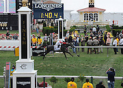 Ironicus, ridden by jockey Javier Castellano, wins the Longines Dixie Stakes, Saturday, May 16, 2015, at Pimlico Race Course in Baltimore, Md.  Longines, the Swiss watch manufacturer known for its elegant timepieces, is the Official Watch and Timekeeper of the 140th annual Preakness Stakes and the Triple Crown. (Photo by Diane Bondareff/Invision for Longines/AP Images)