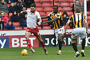 Sheffield United defender, on loan from Birmingham City, David Edgar under attack from Theo Robinson of Port Vale during the Sky Bet League 1 match between Sheffield Utd and Port Vale at Bramall Lane, Sheffield, England on 20 February 2016. Photo by Ian Lyall.