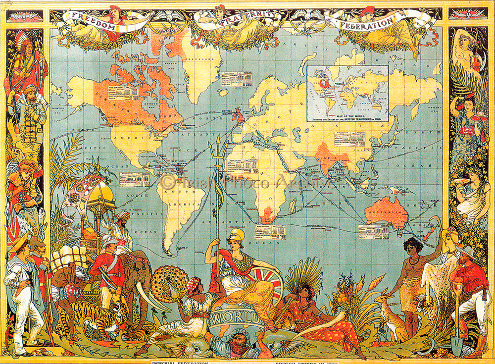 British Empire, 1886, a Federation of Britain, dominions, colonies, protectorates, and mandates spread throughout the world and controlled by Britannia's naval and military power. Colonialism Jingoism  Chromolithograph