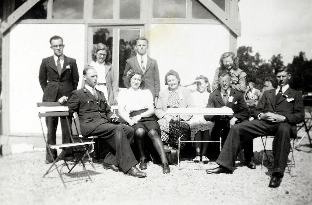 group of young adults on a day trip 1940s