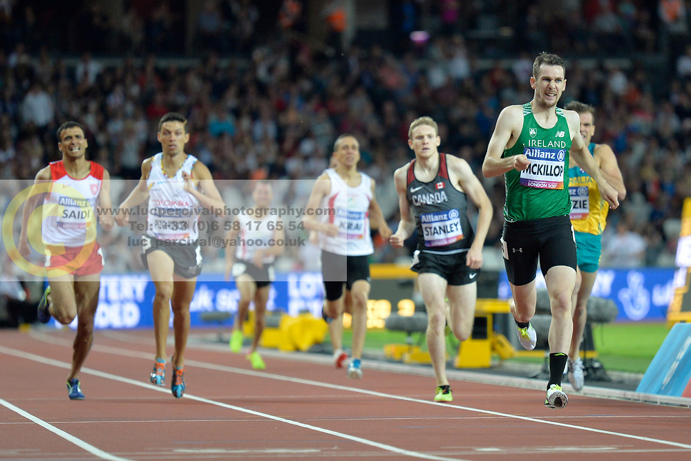 16/07/2017 : Michael McKillop (IRL), Liam Stanley (CAN), Jose Pizo Rincon (COL), Abbes Saidi (TUN), Men's 800m, T38, Final, at the 2017 World Para Athletics Championships, Olympic Stadium, London, United Kingdom