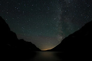 The Milky Way above Lake Ellen Wison in Glacier National Park, Montana