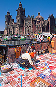 MEXICO, MEXICO CITY, ZOCALO vendors selling prints near Cathedral