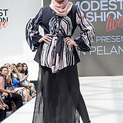 Dian Pelangi showcases it latest collection at the Modest and Beautiful a Modest Fashion Live at The Atrium in Westfield London on June 24, 2018.