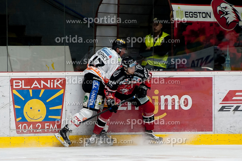 25.09.2015, Ice Rink, Znojmo, CZE, EBEL, HC Orli Znojmo vs Moser Medical Graz 99ers, 5. Runde, im Bild v.l. Evan Brophey (Graz 99ers) Jakub Stehlik (HC Orli Znojmo) // during the Erste Bank Icehockey League 5th round match between HC Orli Znojmo and Moser Medical Graz 99ers at the Ice Rink in Znojmo, Czech Republic on 2015/09/25. EXPA Pictures © 2015, PhotoCredit: EXPA/ Rostislav Pfeffer