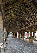 Interior View of Chipping Campden Market Hall, Gloucestershire built from Cotswold Stone in 1627