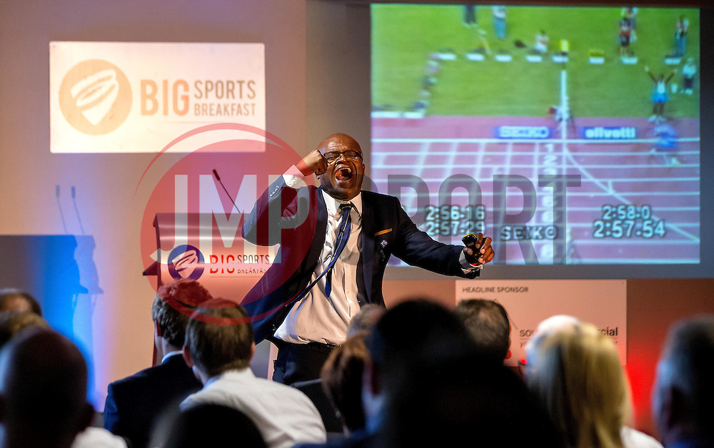 An animated Kriss Akabusi shows The Bristol Sport Big Breakfast audience the footage of the 4x400m relay race he and his team won in the 1991 World Championships - Mandatory by-line: Robbie Stephenson/JMP - 29/07/2016 - FOOTBALL - Ashton Gate - Bristol, England - Bristol Sport Big Breakfast - Kriss Akabusi