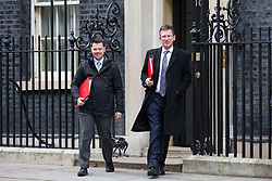 London, UK. 29th January, 2019. James Brokenshire MP, Secretary of State for Housing, Communities and Local Government, and Jeremy Wright QC MP, Secretary of State for Digital, Culture, Media and Sport, leave 10 Downing Street following a Cabinet meeting on the day of votes in the House of Commons on amendments to Prime Minister Theresa May's final Brexit withdrawal agreement which could determine the content of the next stage of negotiations with the European Union.