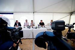 Frank Albert of Supernova Holding GmbH, Zlatko Sraka, Uros Ogrin and Mayor of Ljubljana Zoran Jankovic at press conference open door day 1 year before opening of new football stadium and sports hall in Stozice,  on June 30, 2009, at Stadium Stozice, Ljubljana, Slovenia. (Photo by Vid Ponikvar / Sportida)