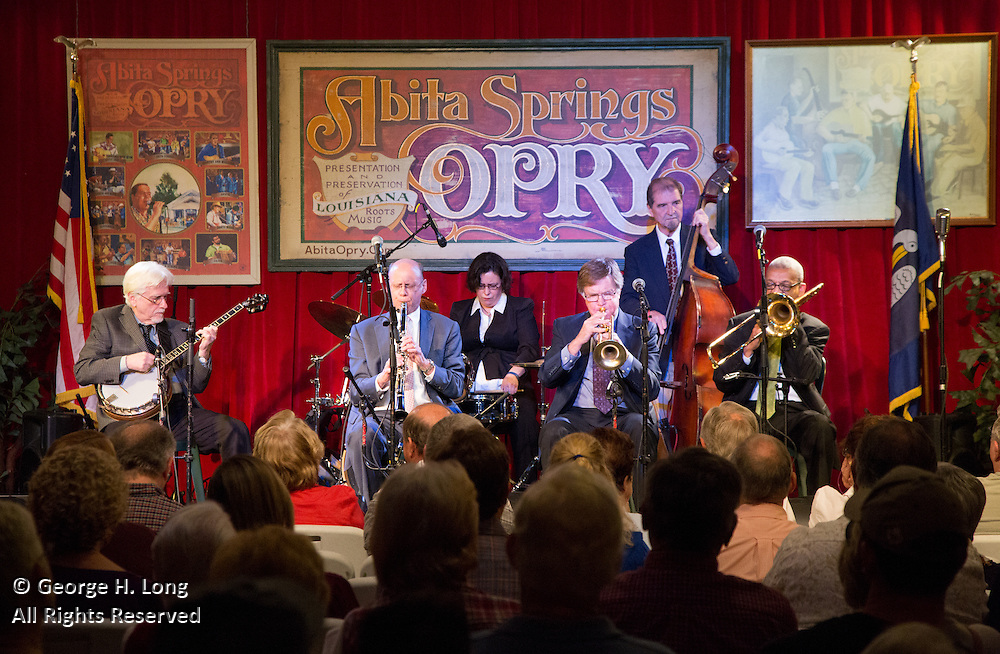 Tom Fisher and friends Jazz Band performs at the Abita Springs Opry performance in Abita Springs, Louisiana on October 17, 2015