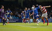 Curtis Main heads goal wards with a weak effort  that didn't really test the keeper during the Sky Bet League 1 match between Gillingham and Doncaster Rovers at the MEMS Priestfield Stadium, Gillingham, England on 5 September 2015. Photo by Andy Walter.