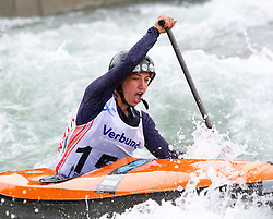 27.06.2015, Verbund Wasserarena, Wien, AUT, ICF, Kanu Wildwasser Weltmeisterschaft 2015, C1 women, im Bild Milica Kostov (SRB) // during the final run in the women's C1 class of the ICF Wildwater Canoeing Sprint World Championships at the Verbund Wasserarena in Wien, Austria on 2015/06/27. EXPA Pictures © 2014, PhotoCredit: EXPA/ Sebastian Pucher