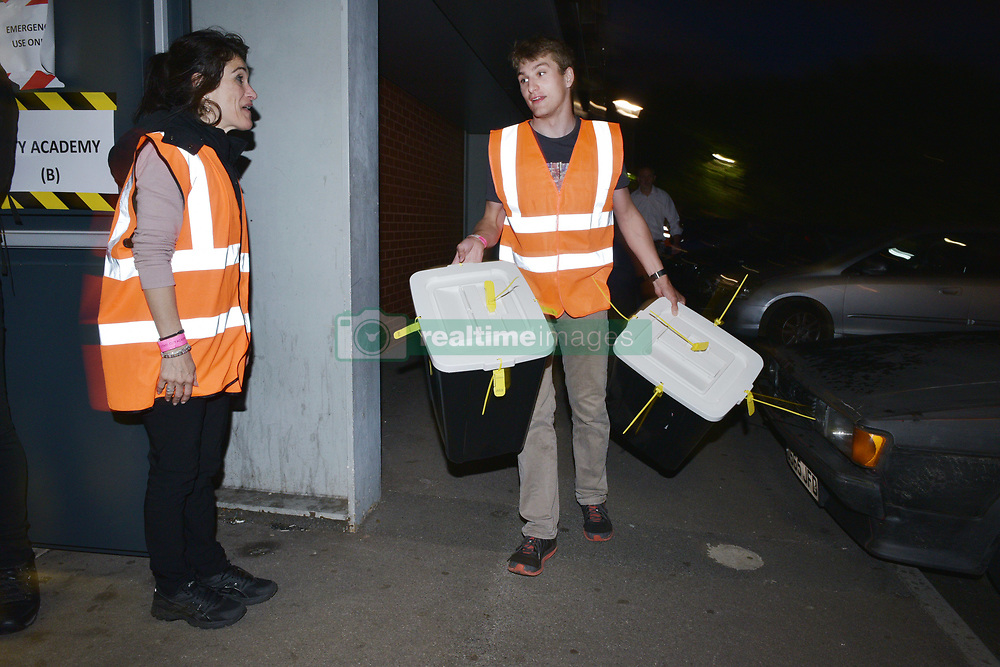 June 8, 2017 - Bristol, Bristol, UK - Bristol, UK. General Election 2017; Ballot boxes arrive at the election count at City of Bristol Academy for Bristol West and Bristol East seats. Picture credit : Simon Chapman/LNP (Credit Image: © Simon Chapman/London News Pictures via ZUMA Wire)