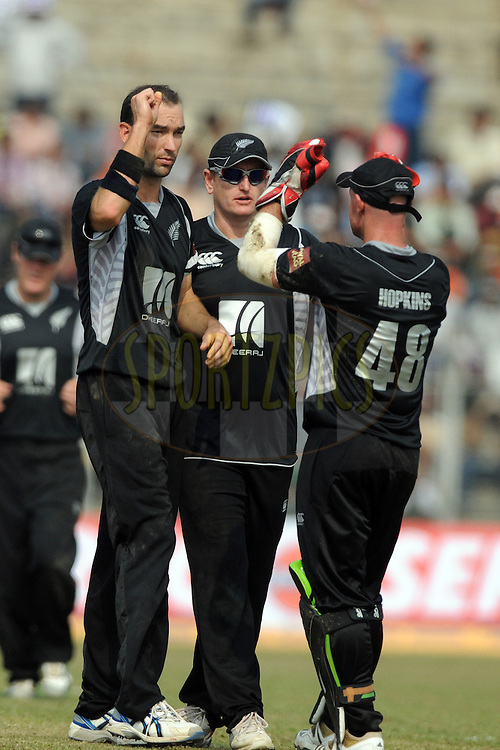 Andy McKay of New Zealand celebrates a wicket during the 1st ODI (One Day International) held at the Nehru Stadium in Guwahati, Assam, India on the 28 th November 2010.Photo by Pal Pillai/BCCI/SPORTZPICS