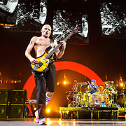 "WASHINGTON, DC -  May 8th, 2012 - Michael ""Flea"" Balzary and Chad Smith of the Red Hot Chili Peppers perform at the Verizon Center in Washington, D.C. The band was inducted into the Rock N Roll Hall Of Fame earlier this year and released their 10th studio album, I'm With You, in late 2011. (Photo by Kyle Gustafson/For The Washington Post)"