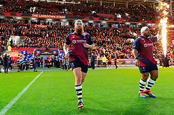Jake Woolmore and John Afoa of Bristol Bears runs onto the field - Mandatory byline: Patrick Khachfe/JMP - 07966 386802 - 18/10/2019 - RUGBY UNION - Ashton Gate Stadium - Bristol, England - Bristol Bears v Bath Rugby - Gallagher Premiership