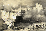 Second Anglo-Afghan War 1878-1880: Capture of Ghunzee by British forces, March 1880. Tinted lithograph