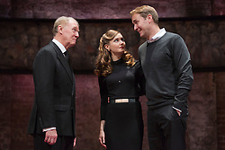 © Licensed to London News Pictures. 08/09/2014. London, England. L-R: Tim Pigott-Smith as Charles, Lydia Wilson as Kate and Oliver Chris as William. King Charles III, a play in blank verse by Mike Bartlett and directed by Rupert Goold has now transferred from the Almeida to Wyndham's Theatre, London. With Tim Pigott-Smith as Charles. Photo credit: Bettina Strenske/LNP
