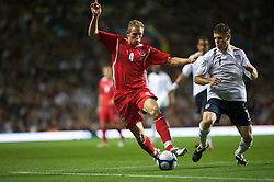 BIRMINGHAM, ENGLAND - Monday, October 13, 2008: Wales' Jack Collison and England's James Milner during the UEFA European Under-21 Championship Play-Off 2nd Leg match at Villa Park. (Photo by Gareth Davies/Propaganda)